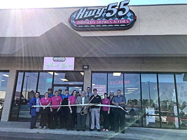 We are excited for the reopening of the Leeds Hwy 55 Burgers Shakes & Fries located at 8525 Whitfield Avenue in the shopping center next to Wal-Mart. The City of Leeds and Leeds Area Chamber of Commerce conducted their ribbon cutting on Friday to celebrate.