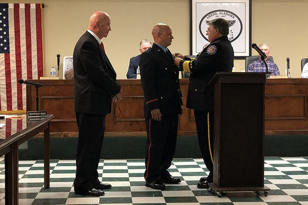 Congratulations is in order for Firefighter Jon Ford with Leeds Fire Department. He recently received a promotion in his job from Firefighter to Apparatus Operator.