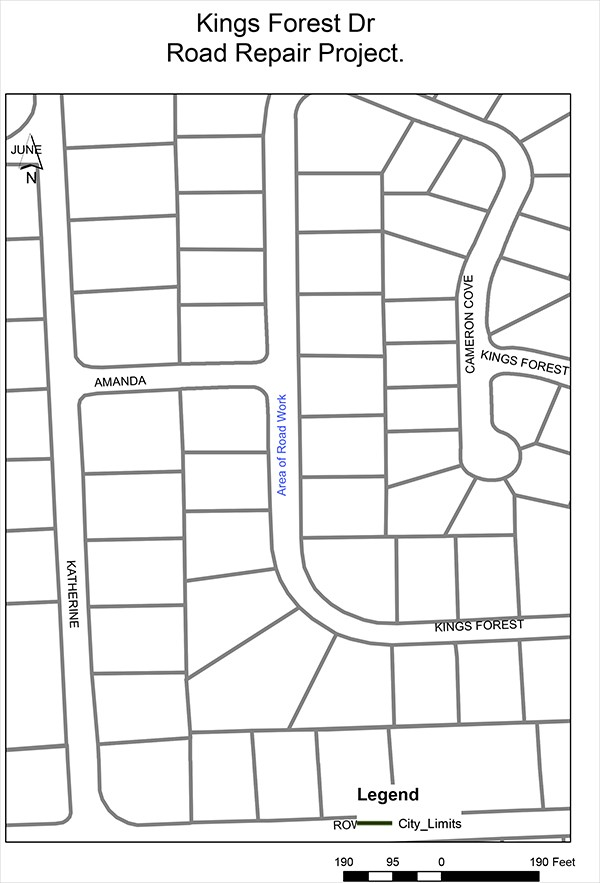 Notice: Kings Forest Road Construction | Beginning on Tuesday, September 11, 2018 and continuing until Tuesday, September 18, 2018, repair work will be conducted