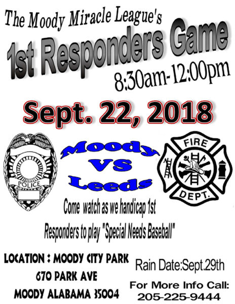Leeds Police & Fire Depts Play at Miracle League | Don't miss Moody Miracle League First Responders' Games this Saturday, September 22, 2018 beginning at
