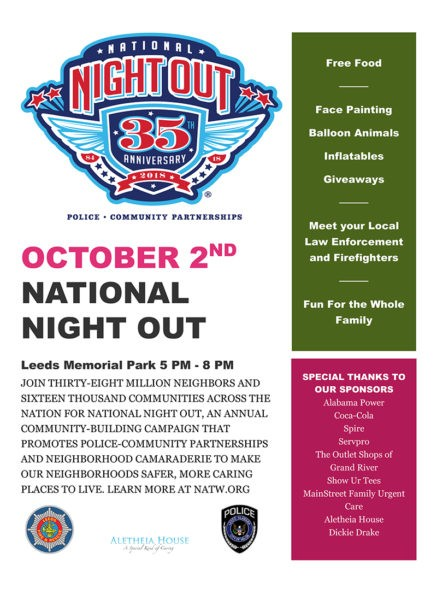 Join Leeds Police Department for National Night Out 2018 from 5:00 p.m. until 8:00 p.m. on Tuesday, October 2, 2018 at Leeds Memorial Park.