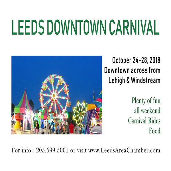 Bring your kids downtown Leeds across from Lehigh and Windstream to enjoy Leeds Downtown Carnival festivities October 24-28, 2018.