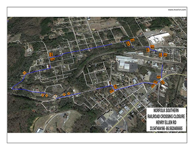 Railroad Crossings Work - The railroad crossings at Henry Ellen and 8th Street will be closed for 1 (one) day on January 7, 2019 for maintenance work.  Leeds, Alabama