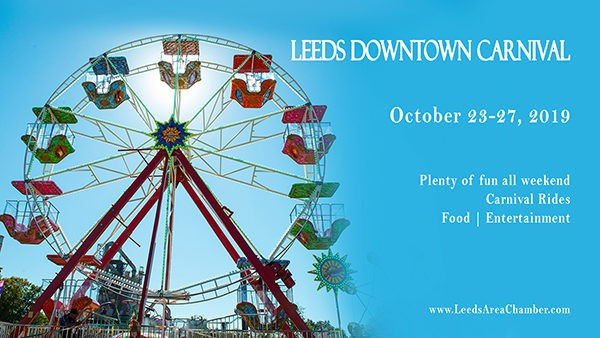 Leeds Fall Carnival is coming! Bring your kids downtown Leeds across from Lehigh and Windstream to enjoy carnival festivities October 23-27, 2019.