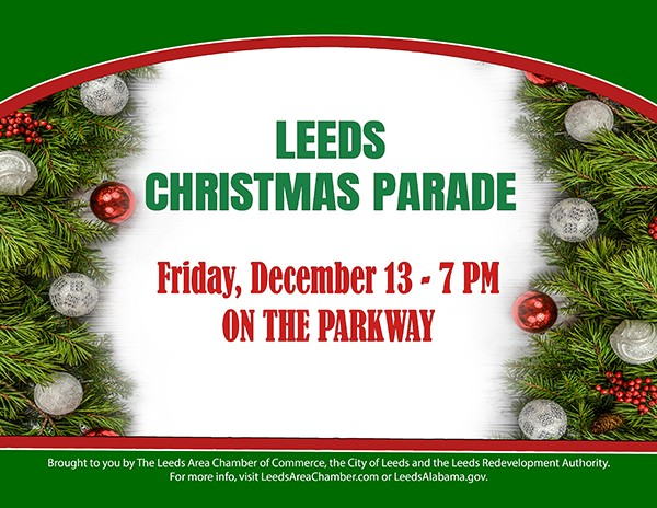 Bring your entire family to historic downtown Leeds for the annual Christmas Parade on Friday, December 13th.  Experience the magic of Christmas and holiday festivities with the Leeds community as we celebrate Christmas on the Parkway at 7 p.m. on Friday, December 13th.  There is no charge to ride in the parade, but registration is required.  For more information and to download parade application, please visit https://leedsareachamber.com/leeds-christmas-parade-2019/    #leedsalabama  #christmasparade  #celebratechristmas  #santa