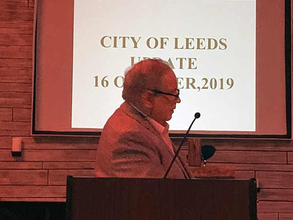 Mayor David Mayor gave the State of the City Address at the October Leeds Area Chamber of Commerce luncheon to update attendees on what's happening in Leeds
