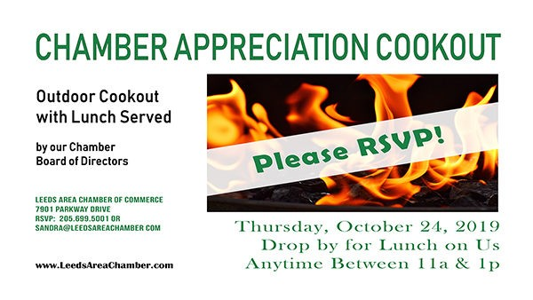 Chamber of Commerce Member Appreciation Cookout - Thursday, October 24 from 11a-1p | Leeds Area Chamber of Commerce would like to show our appreciation