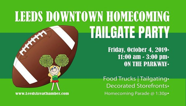 Leeds Homecoming Tailgate - Join everyone downtown for the Leeds High School Homecoming Parade this Friday, Oct. 4th at 1:30! Downtown businesses are