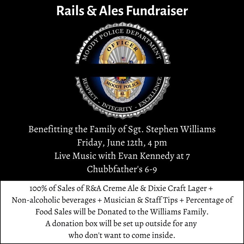 Rails & Ales Fundraiser Benefiting Family of Sgt. Stephen Williams - Friday, June 12 - 4:00 PM - Live Music with Evan Kennedy at 7 PM, Chubbfather's 6-9 PM.