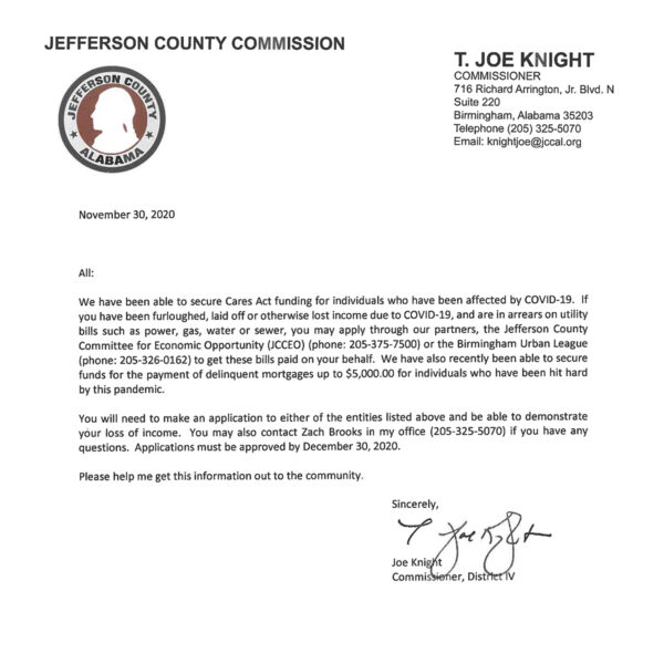 Cares Act Utility Assistance Letter from T. Joe Knight, Jefferson County Commission, on how to apply for assistance with your utility bills