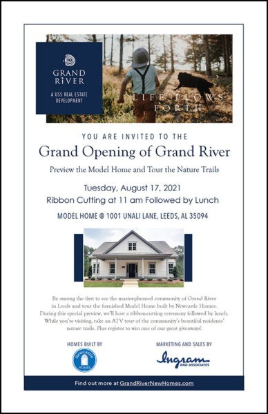 Leeds Area Chamber of Commerce and the City of Leeds invites you to join them for the Grand River Homes Ribbon Cutting and Open House – August 17. 11 am - Ribbon Cutting and then lunch from Rusty's at Open House.